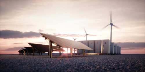 Solar panels, wind farms, and battery storage